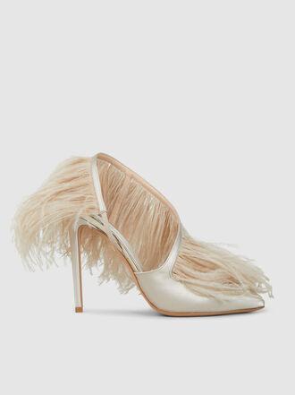 GIAMBATTISTA VALLI - Ostrich Feather Trimmed Satin Pumps