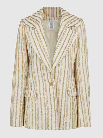 Rosie Assoulin - Striped Boucle Metallic Lurex Blazer