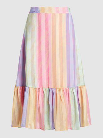 Stine Goya - Leandra Rainbow-Striped Satin Midi Skirt