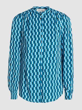 CEFINN - Geometric Print High Collar Viscose Shirt
