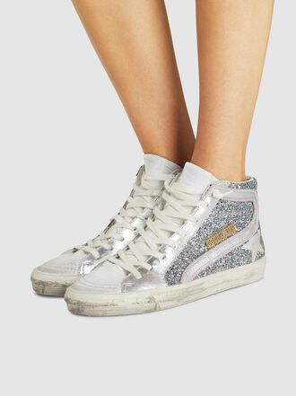 Golden Goose Deluxe Brand - High-Top Glitter Leather Sneakers
