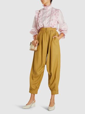 Alberta Ferretti - Draped Canvas Tapered Trousers