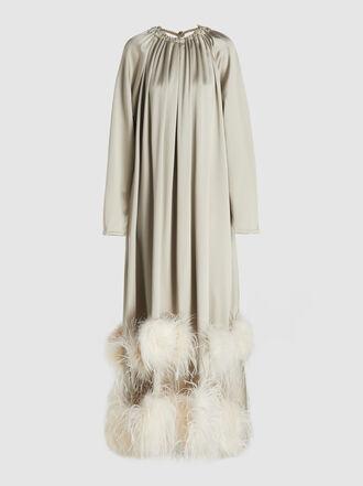 Alison Brett - Trapeze Feather-Trimmed Dress