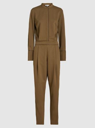 LAYEUR - Berthewoven Pleated Placket Woven Jumpsuit