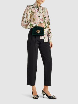 Dolce & Gabbana - Devotion Mini Embellished Velvet Top Handle Bag