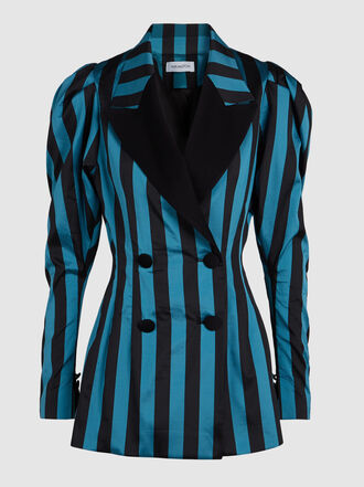 16ARLINGTON - Striped Puff Sleeve Blazer