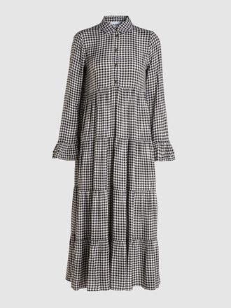 Ganni - Tiered Gingham Midi Dress