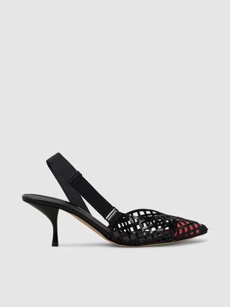 Marco de Vincenzo - Sequin Mesh Leather Slingback Pumps