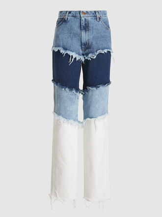 Natasha Zinko - Layered Frayed Slim-Fit Denim Jeans