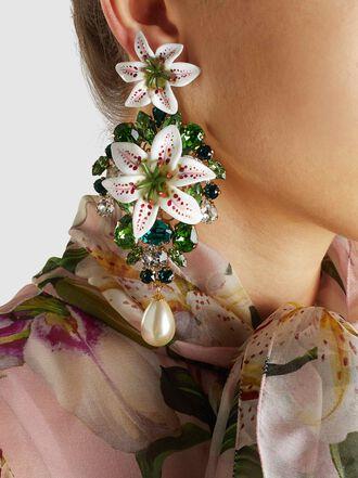 Dolce & Gabbana - Embellished Acetate Gold-Tone Clip Earrings