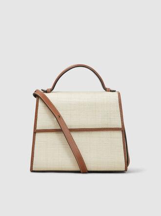 HUNTING SEASON - Top Handle Raffia and Leather Bag
