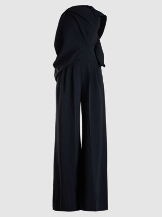 ROLAND MOURET - Ebsen Draped Neck Silk-Blend Jumpsuit