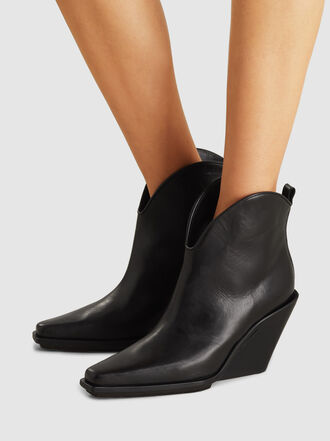 Ann Demeulemeester - Abrasivato Leather Wedge Ankle Boots