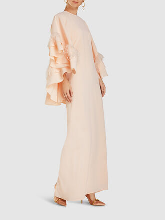 HUISHAN ZHANG - Feather Trim Drape Back Silk Kaftan