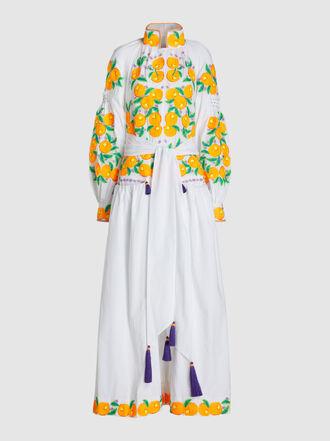YULIYA MAGDYCH - Mandarin Embroidered Tasseled Cotton Maxi Dress