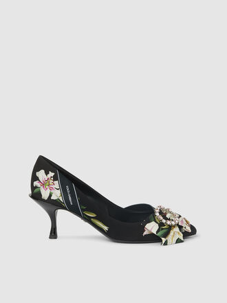 Dolce & Gabbana - Crystal-Embellished Printed Satin Pumps