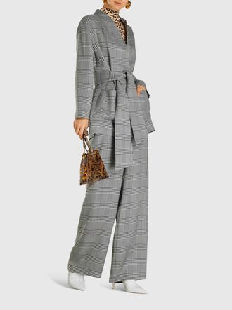 LAYEUR - Dench Wide Leg Checked Twill Trousers