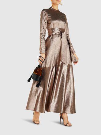 LAYEUR - Watson Belted Lamé Maxi Dress