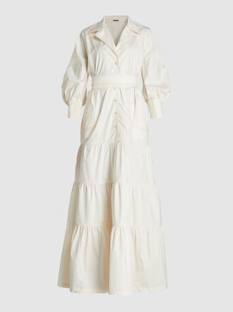 Johanna Ortiz - Tie-Waist Tiered Cotton-Blend Maxi Dress