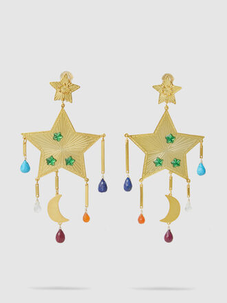 Mercedes Salazar - Rainbow Shooting Star Gem Drop Earrings