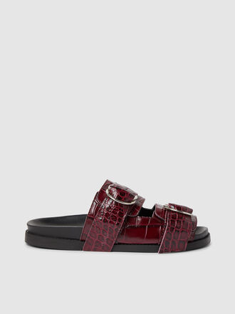 Ganni - Buckled Croc-Effect Leather Slides