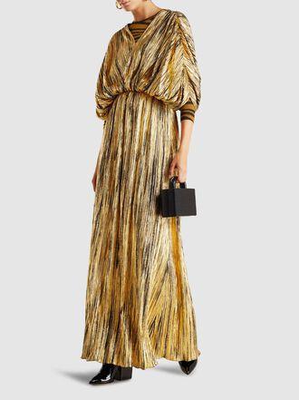 Dima Ayad - Pleated V-Neck Crepe Maxi Dress