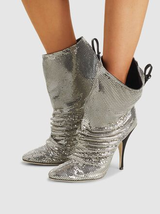 Marco de Vincenzo - Metallic Chainmail Ruched Ankle Boots