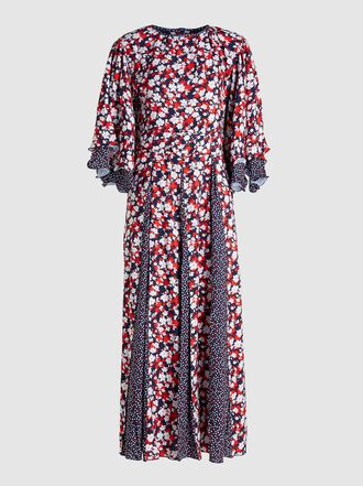 Gül Hürgel - Contrast Print Satin Midi Dress
