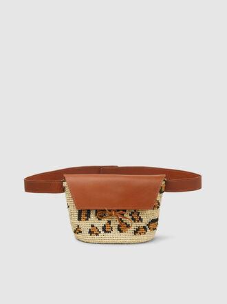 Sensi Studio - Leopard Straw and Leather Belt Bag