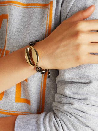 Tohum - Medium Puka Khaki And Gold-Tone Brass Bracelet