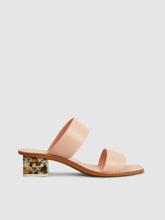 MERCEDES CASTILLO - Lavinia Marble Heel Leather Mules