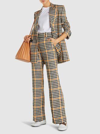 PETAR PETROV - Jina Double-Breasted Checkered Linen Blazer