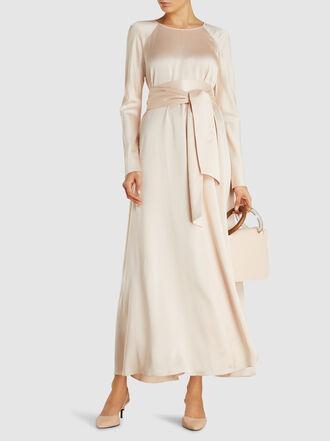 LAYEUR - Evelyn Drop-Shoulder Tie-Waist Viscose-Blend Maxi Dress