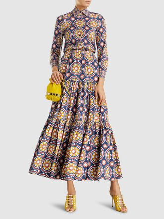 La DoubleJ - Printed Tiered Stretch-Cotton Maxi Skirt