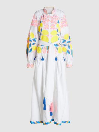 YULIYA MAGDYCH - Lemon Embroidered Tassel-Detail Cotton Dress