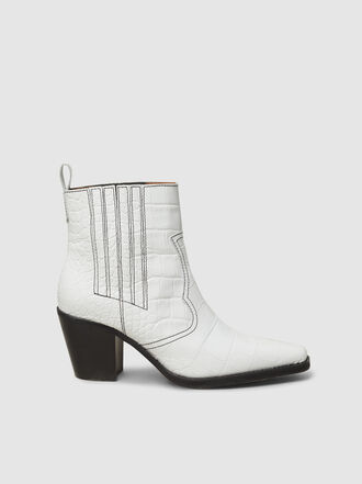 Ganni - White Leather Western Boots