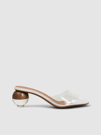 NEOUS - Opus Perspex Strap With Orb Heel Leather Mules