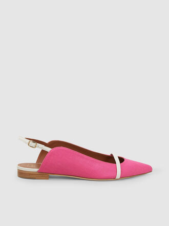 Malone Souliers - Marion Linen And Leather Flats