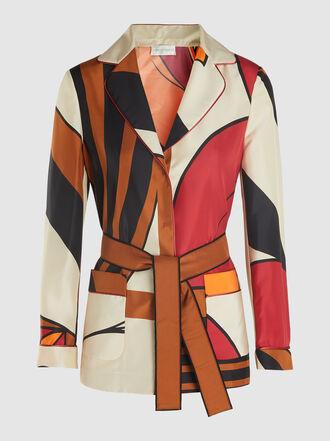 Alberta Ferretti - Printed Belted Silk Shirt