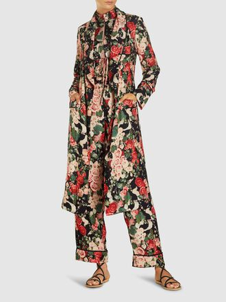 ANNA SUI - Rose Garland Floral Print Crepe Robe