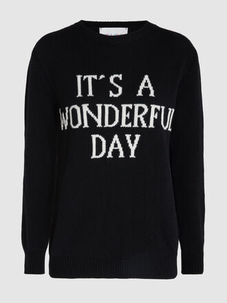 Alberta Ferretti - It's A Wonderful Day Slogan Wool and Cashmere Sweatshirt