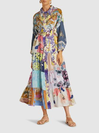 RIANNA + NINA - Patchwork Vintage Silk Maxi Shirt Dress