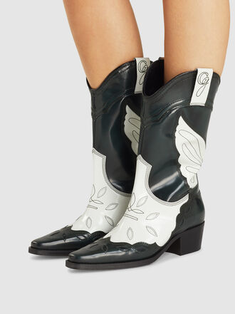 Ganni - Leather Western Ankle Boots