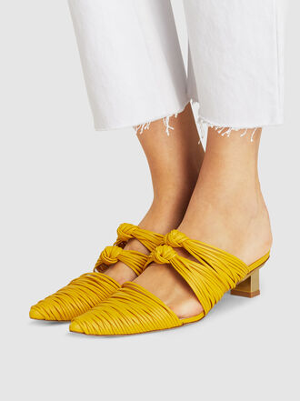 Cult Gaia - Paige Woven Leather Knotted Mules
