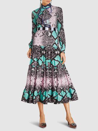 Stella Jean - Tiered Snake Print Midi Skirt