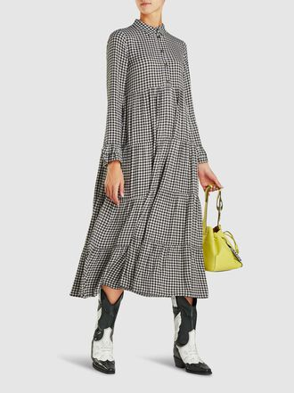 Ganni - Tiered Gingham Midi Dress