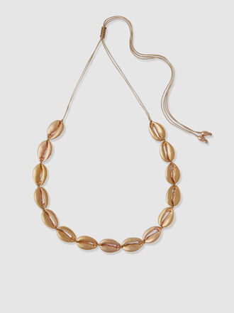Tohum - Large Puka Shell Rose Gold-Tone Brass Necklace