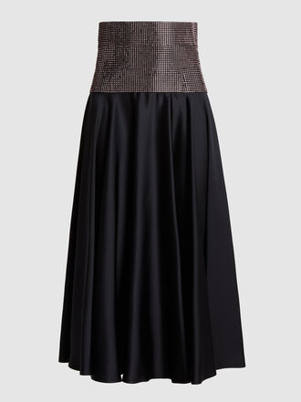 Christopher Kane - Crystal-Embellished Satin Midi Skirt