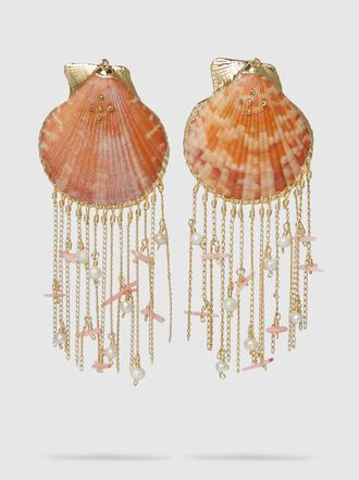 Mercedes Salazar - Tropic Shell Chain Fringe Earrings