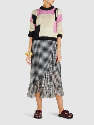 Ganni - Ruffled Gingham Tulle Midi Wrap Skirt